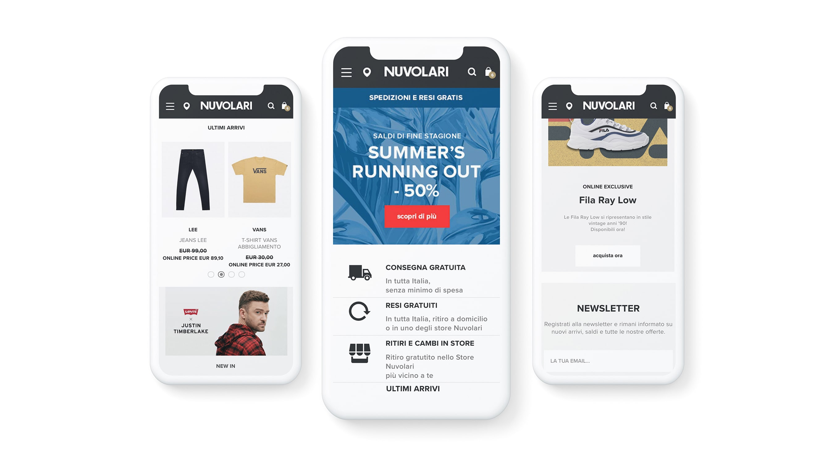 Ecommerce development agency Luther designed the Nuvolari's fashion ecommerce website