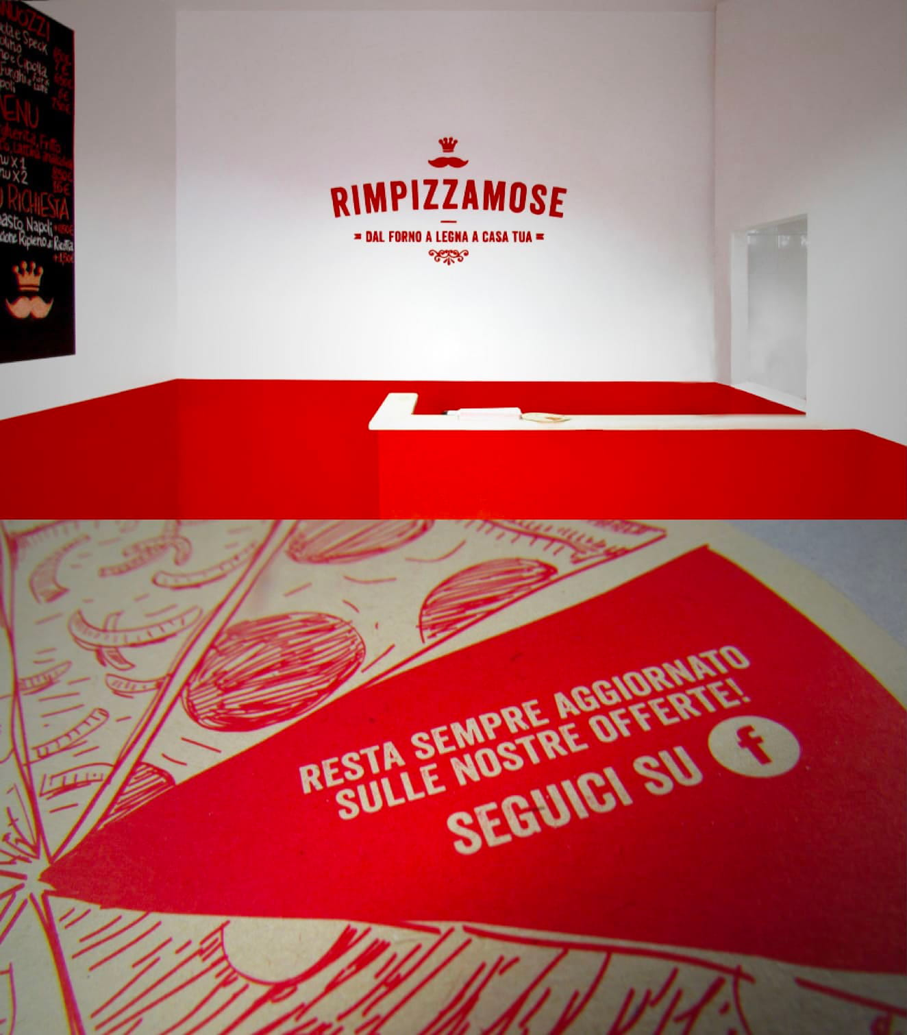 Restaurant brand identity & food packaging design Rimpizzamose - Luther Dsgn